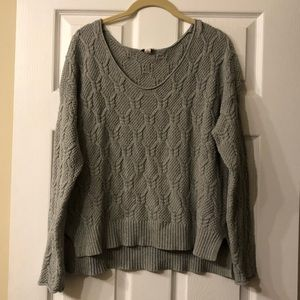 Gap Grey Scoop Neck Cable Knit Sweater